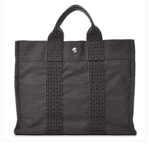 NWOT HERMES Canvas Herline PM Grey Tote Bag cc665d33f741e